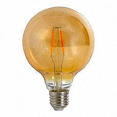 Amber G95 Maxi Globe LED Lamp 4W Filament (Dimmable)